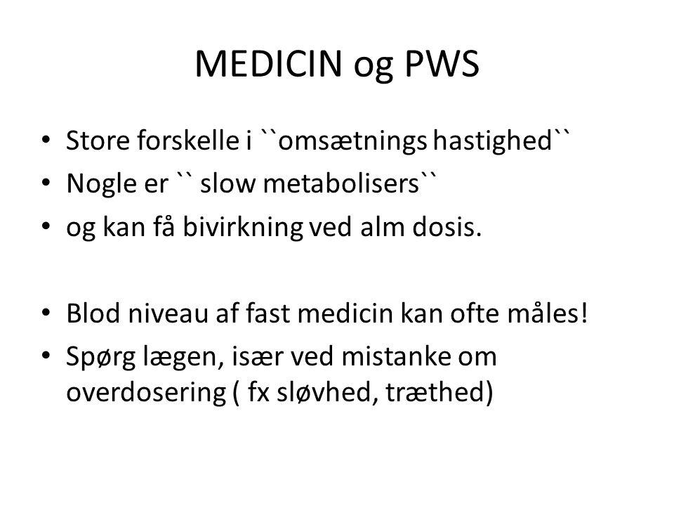 MEDICIN og PWS Store forskelle i ``omsætnings hastighed``