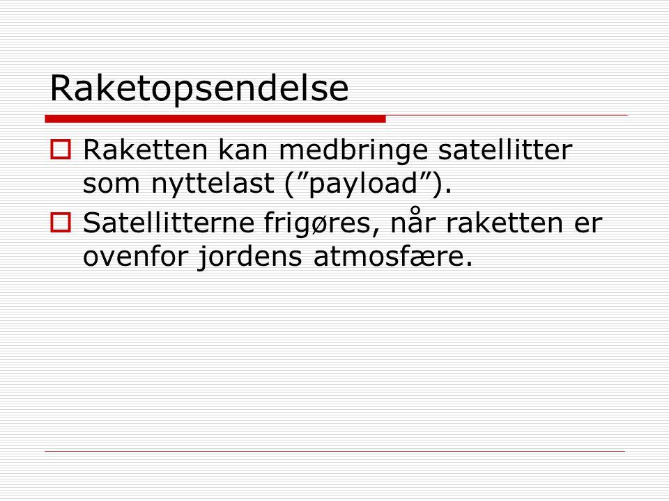 Raketopsendelse Raketten kan medbringe satellitter som nyttelast ( payload ).