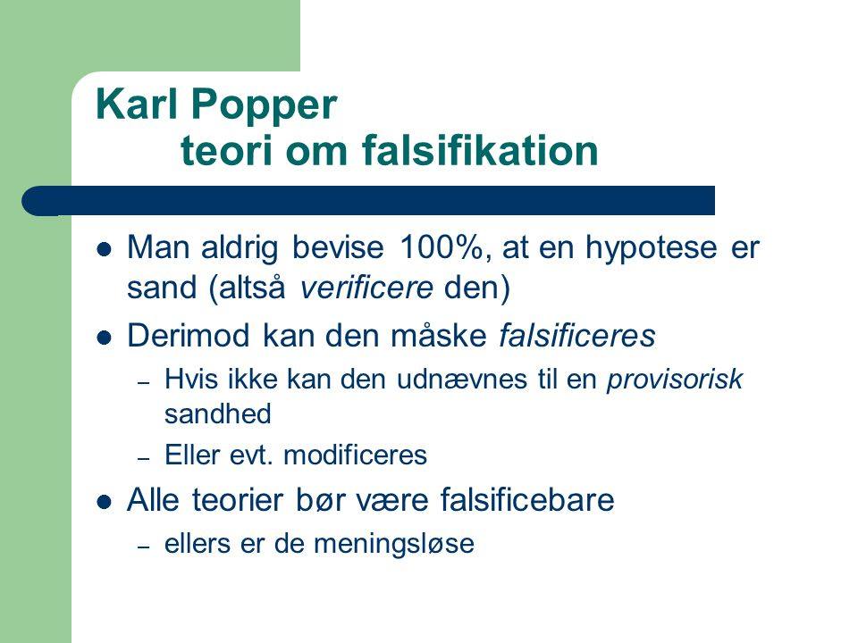 Karl Popper teori om falsifikation
