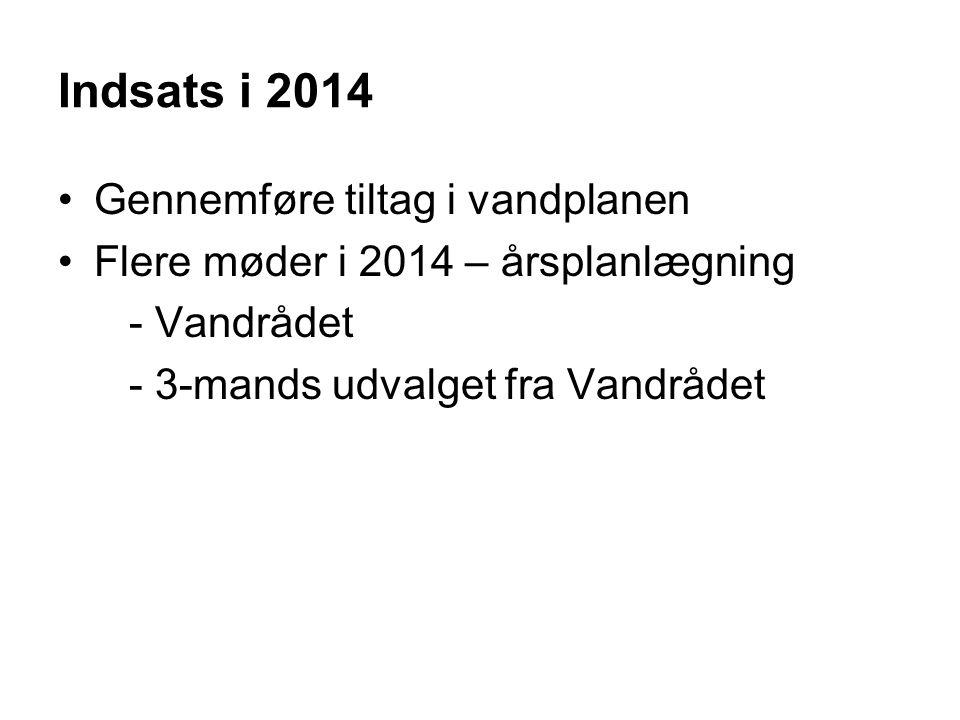 Indsats i 2014 Gennemføre tiltag i vandplanen