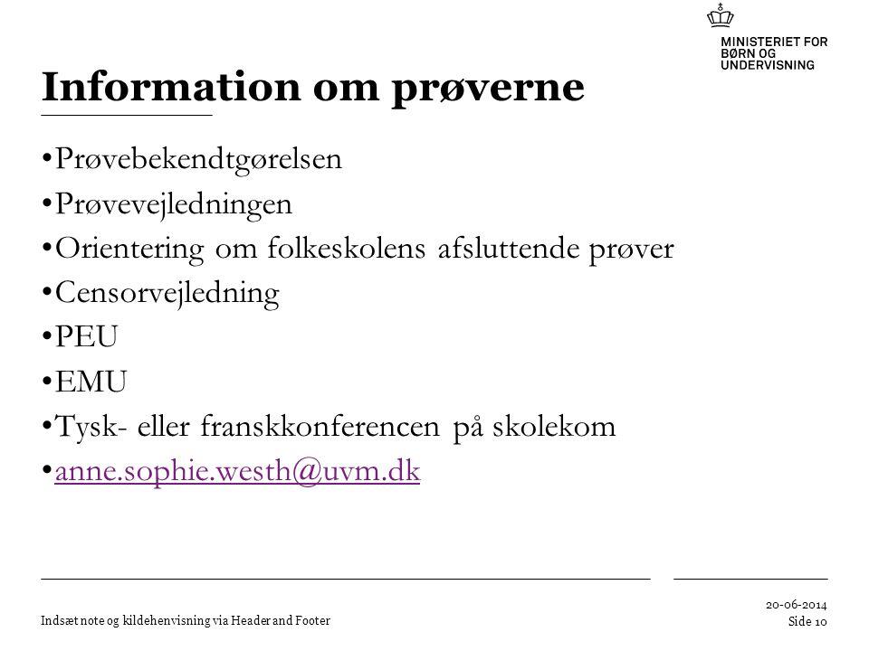 Information om prøverne