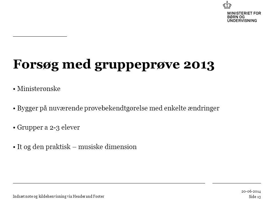 Forsøg med gruppeprøve 2013