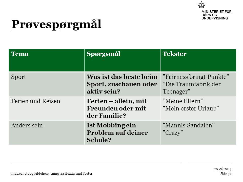 Prøvespørgmål Tema Spørgsmål Tekster Sport