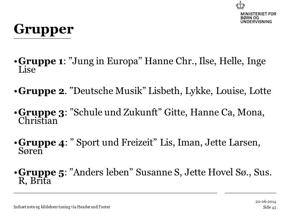 Grupper Gruppe 1: Jung in Europa Hanne Chr., Ilse, Helle, Inge Lise