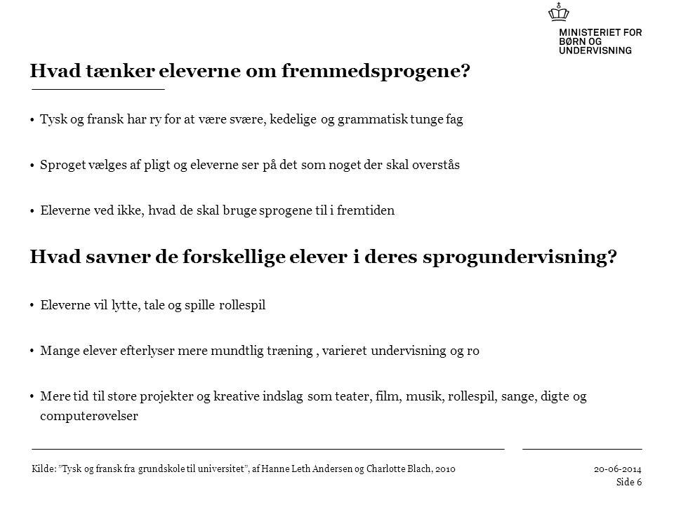 Hvad tænker eleverne om fremmedsprogene