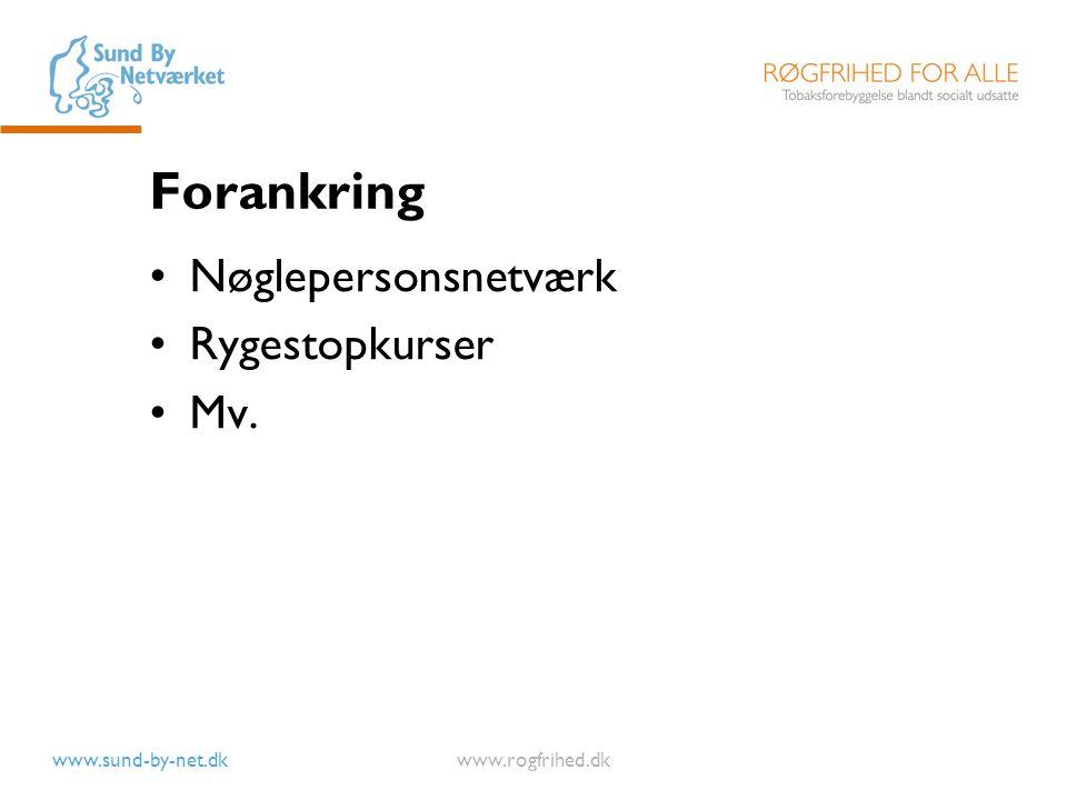 Forankring Nøglepersonsnetværk Rygestopkurser Mv.