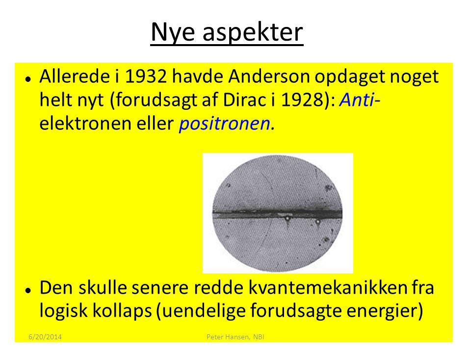 Nye aspekter Allerede i 1932 havde Anderson opdaget noget helt nyt (forudsagt af Dirac i 1928): Anti- elektronen eller positronen.