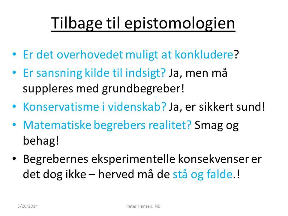Tilbage til epistomologien
