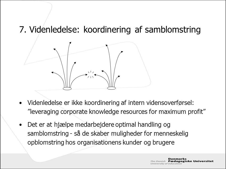 7. Videnledelse: koordinering af samblomstring