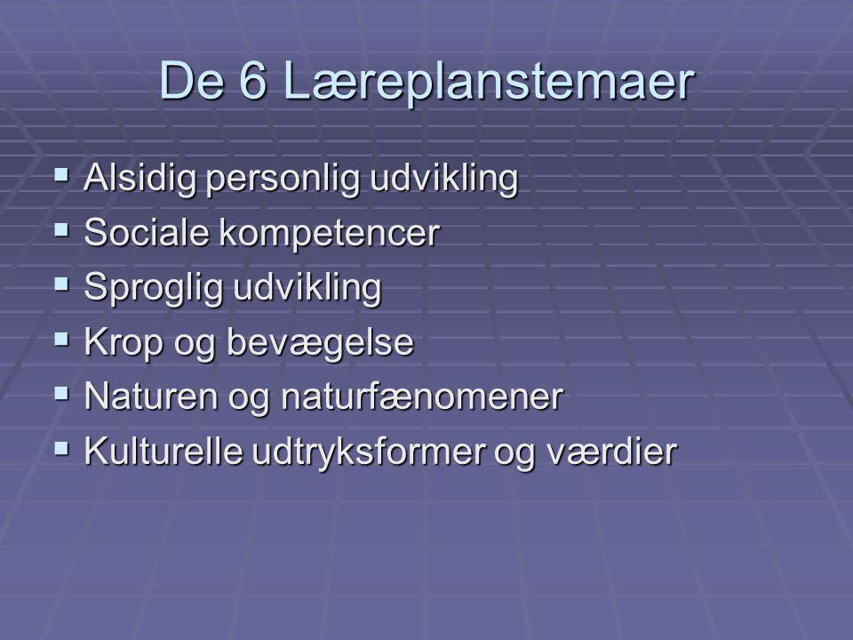 De 6 Læreplanstemaer Alsidig personlig udvikling Sociale kompetencer