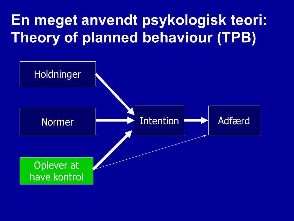 En meget anvendt psykologisk teori: Theory of planned behaviour (TPB)