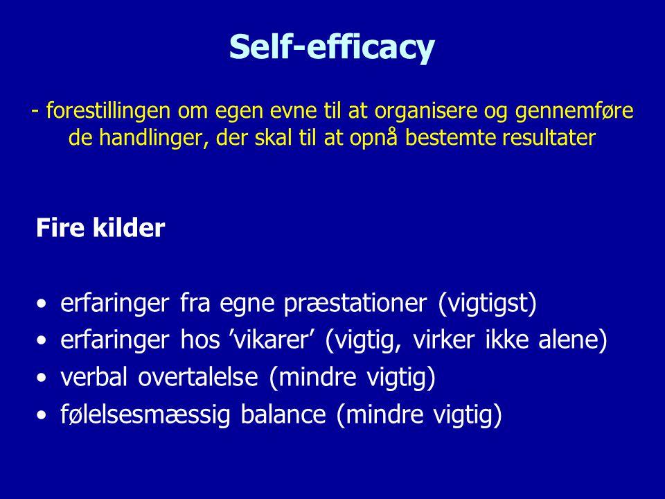 Self-efficacy - forestillingen om egen evne til at organisere og gennemføre de handlinger, der skal til at opnå bestemte resultater