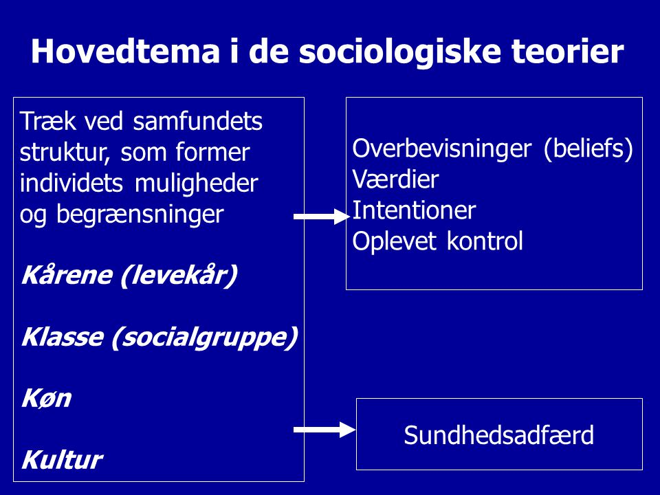 Hovedtema i de sociologiske teorier