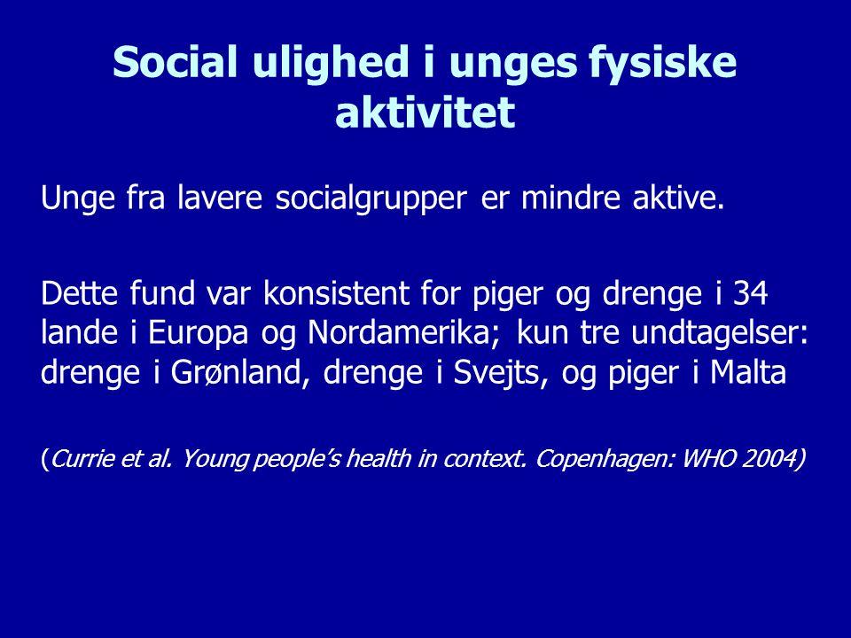 Social ulighed i unges fysiske aktivitet