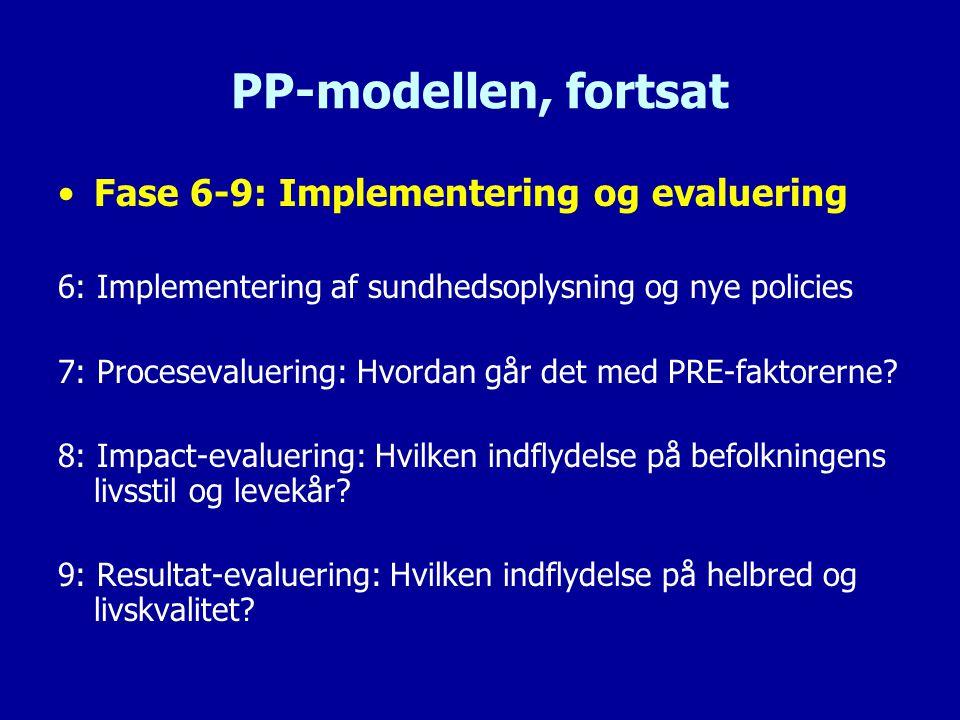 PP-modellen, fortsat Fase 6-9: Implementering og evaluering