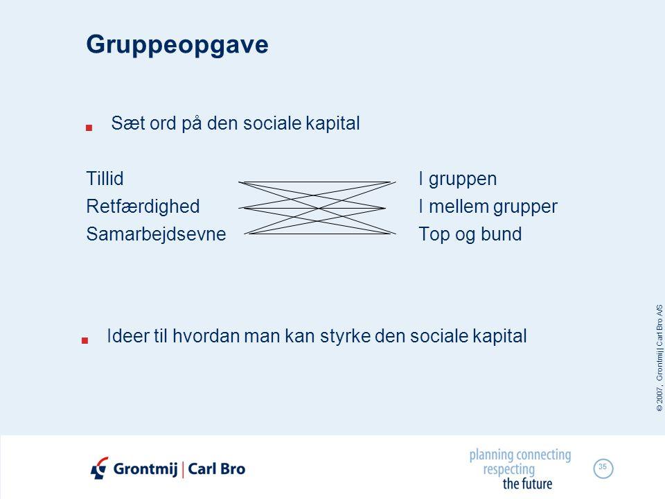 Gruppeopgave Sæt ord på den sociale kapital Tillid I gruppen