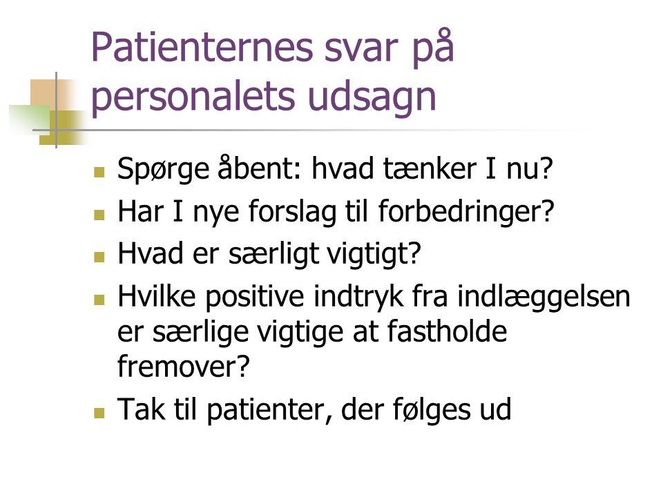Patienternes svar på personalets udsagn