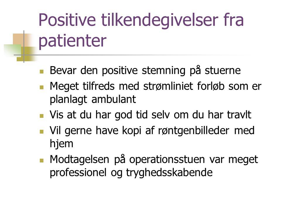 Positive tilkendegivelser fra patienter