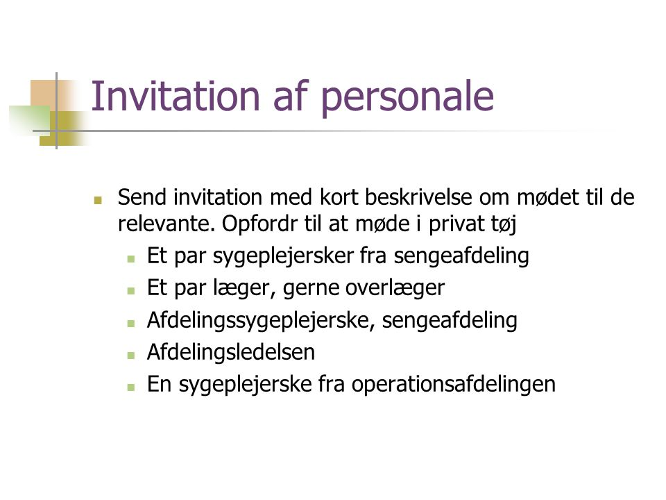 Invitation af personale