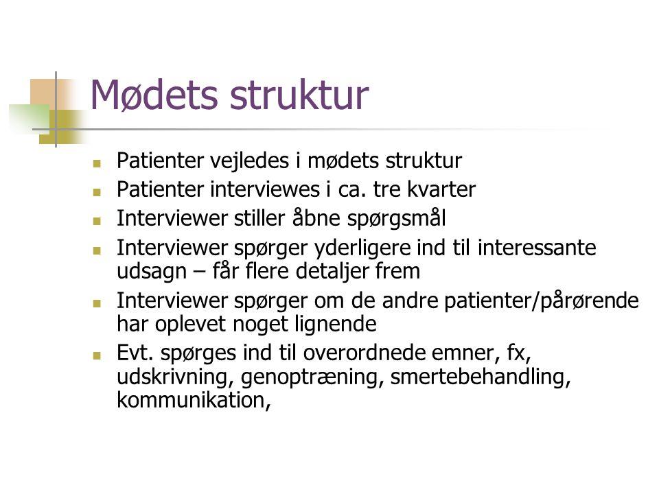 Mødets struktur Patienter vejledes i mødets struktur