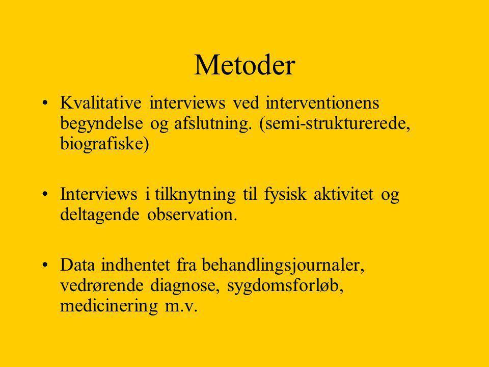 Metoder Kvalitative interviews ved interventionens begyndelse og afslutning. (semi-strukturerede, biografiske)