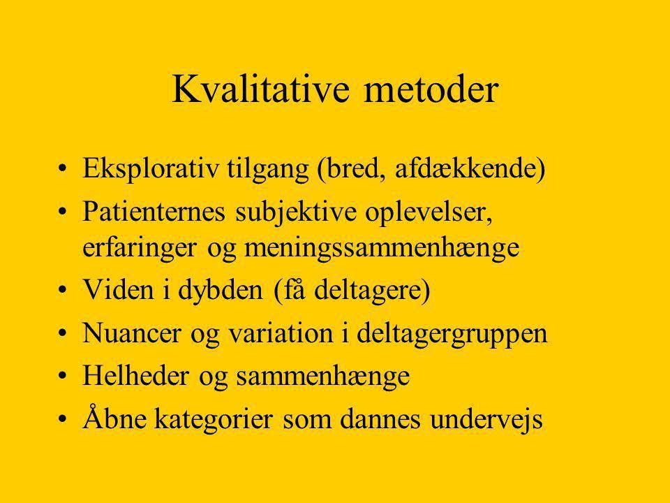 Kvalitative metoder Eksplorativ tilgang (bred, afdækkende)