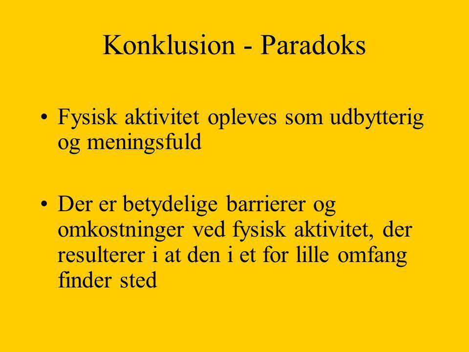 Konklusion - Paradoks Fysisk aktivitet opleves som udbytterig og meningsfuld.