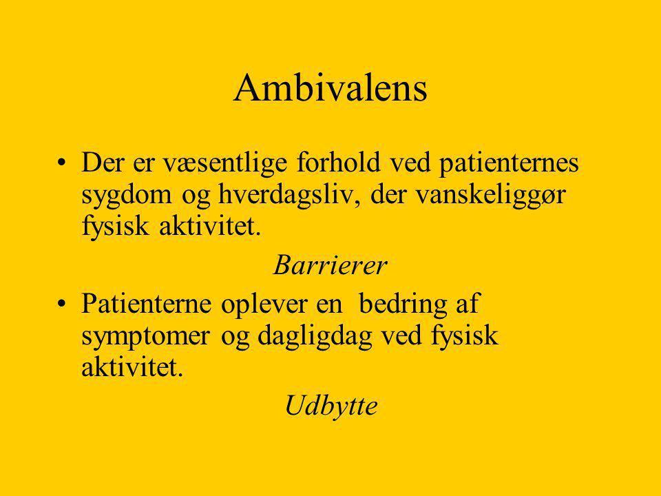 Ambivalens Der er væsentlige forhold ved patienternes sygdom og hverdagsliv, der vanskeliggør fysisk aktivitet.