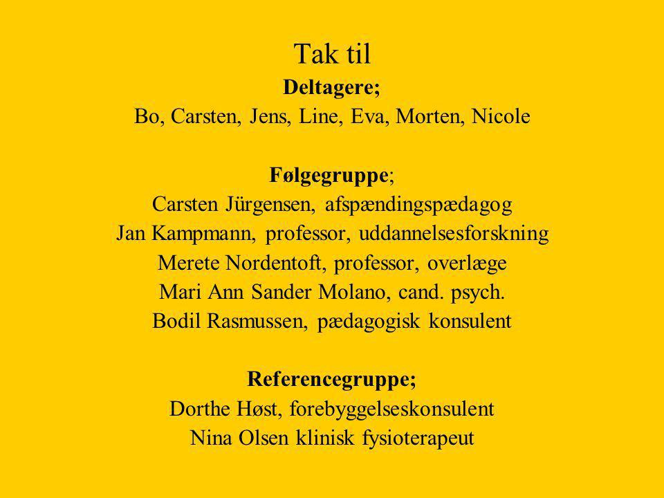 Tak til Deltagere; Bo, Carsten, Jens, Line, Eva, Morten, Nicole