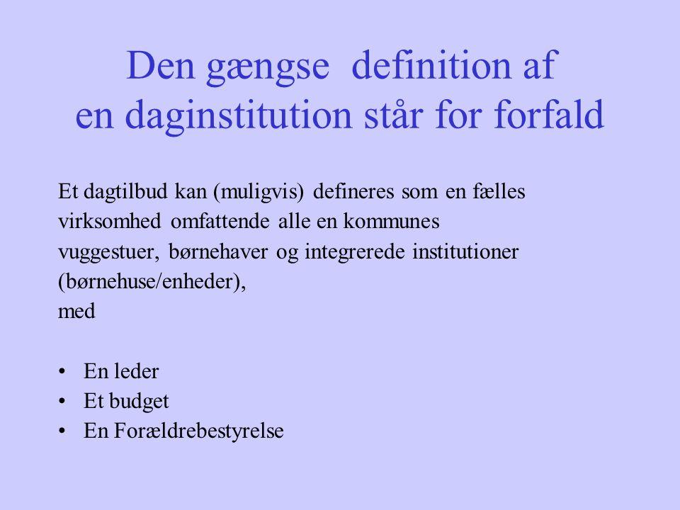 Den gængse definition af en daginstitution står for forfald