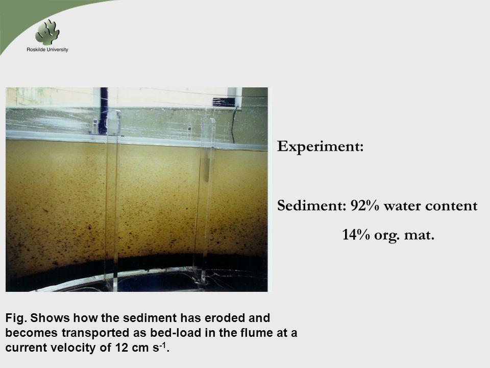 Sediment: 92% water content 14% org. mat.