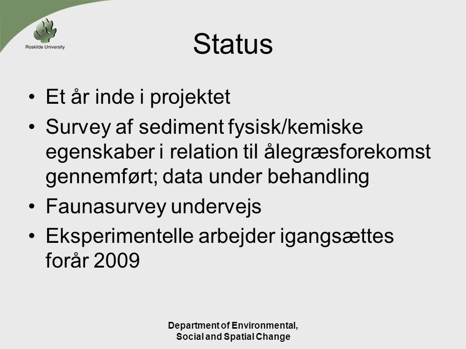 Department of Environmental, Social and Spatial Change