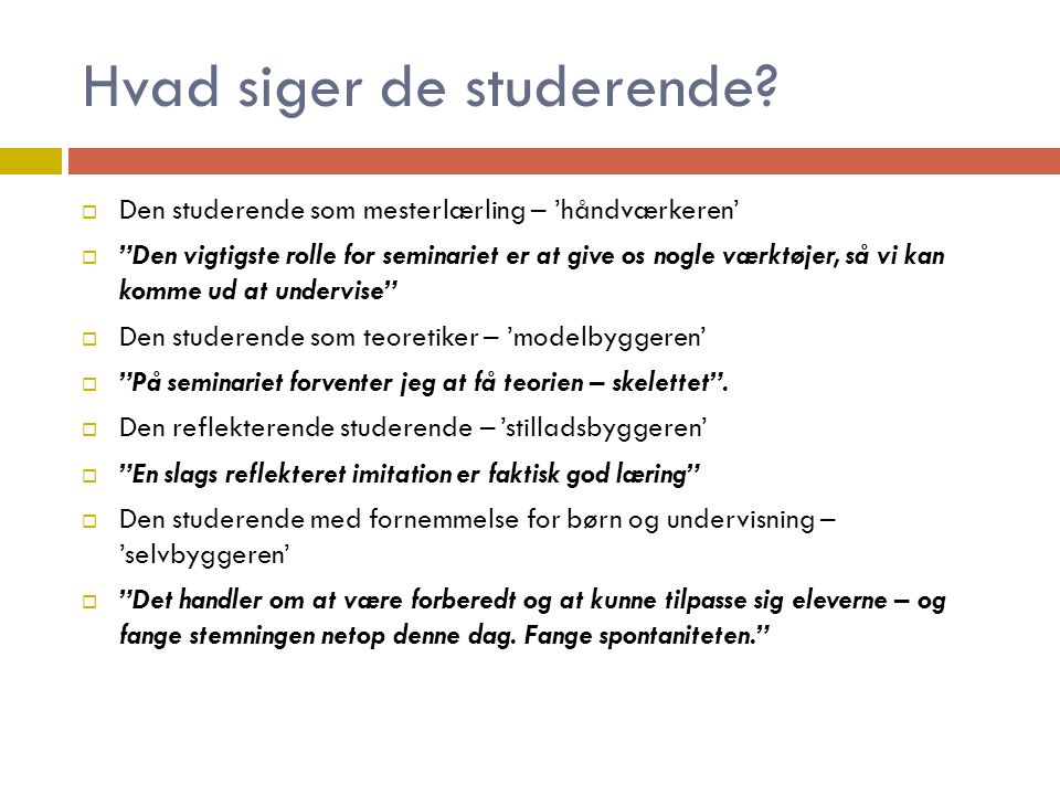 Hvad siger de studerende