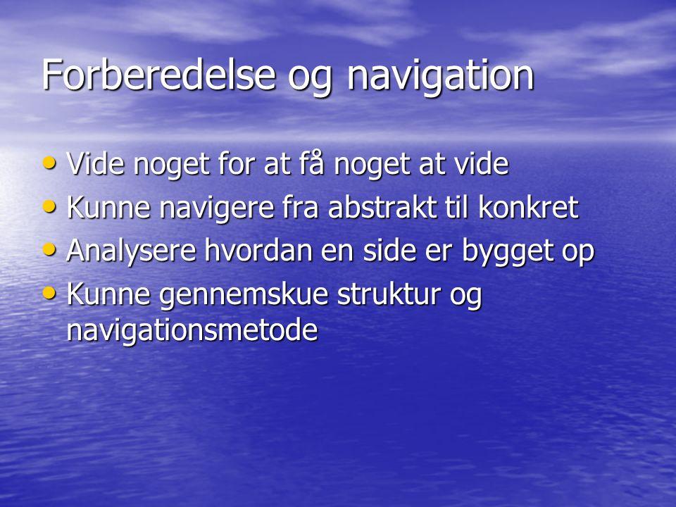 Forberedelse og navigation