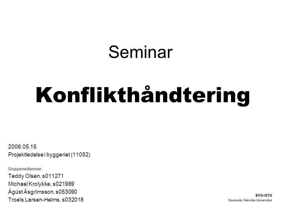 Seminar Konflikthåndtering