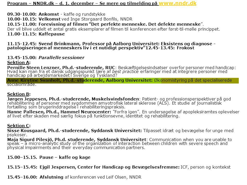 Program – NNDR. dk – d. 1. december – Se mere og tilmelding på www