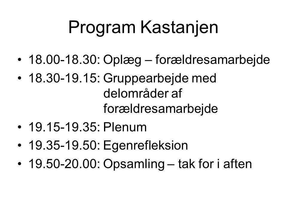 Program Kastanjen 18.00-18.30: Oplæg – forældresamarbejde