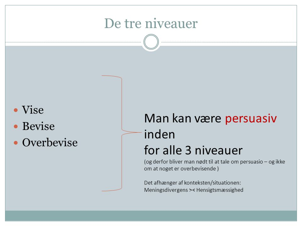 De tre niveauer Man kan være persuasiv inden for alle 3 niveauer Vise