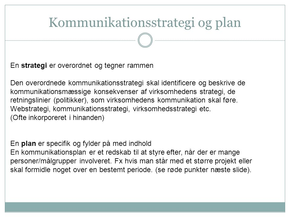 Kommunikationsstrategi og plan