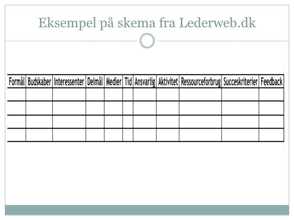 Eksempel på skema fra Lederweb.dk