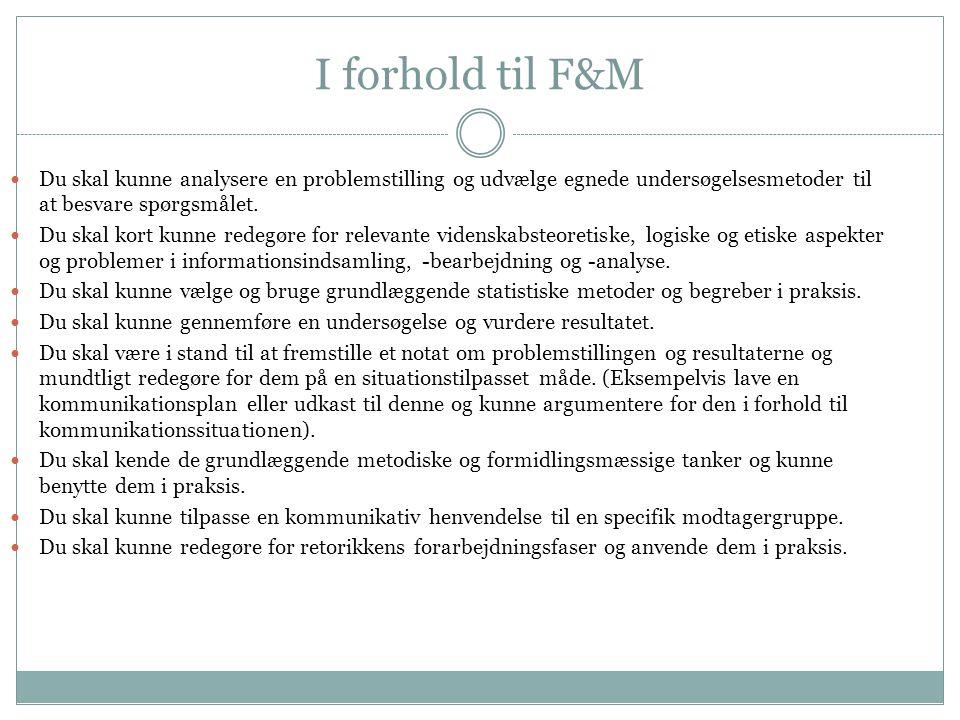 I forhold til F&M Du skal kunne analysere en problemstilling og udvælge egnede undersøgelsesmetoder til at besvare spørgsmålet.