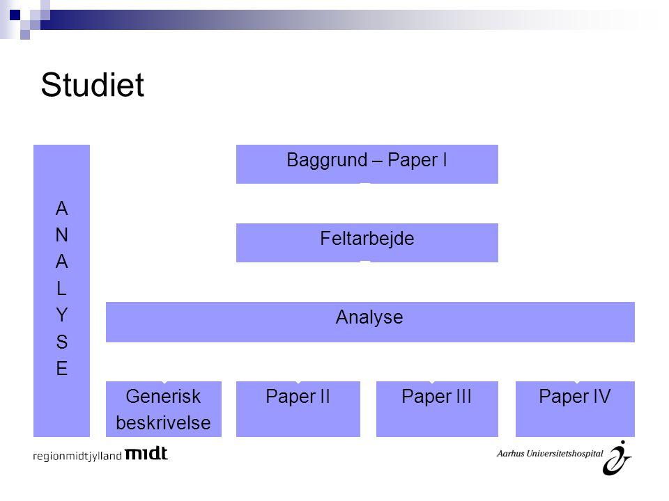Studiet A N L Y S E Baggrund – Paper I Feltarbejde Analyse Generisk
