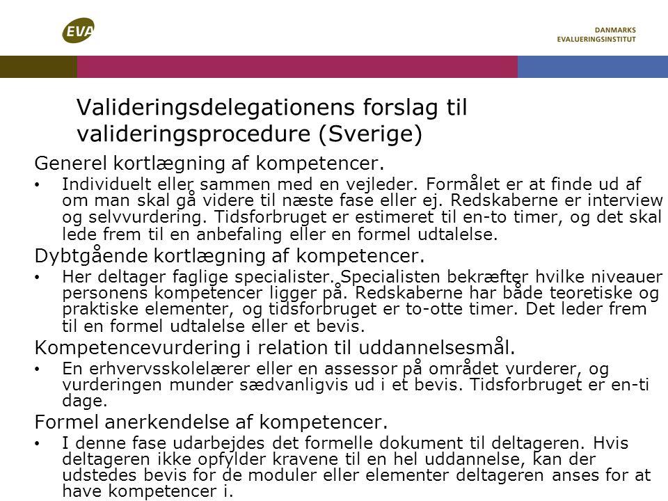 Valideringsdelegationens forslag til valideringsprocedure (Sverige)