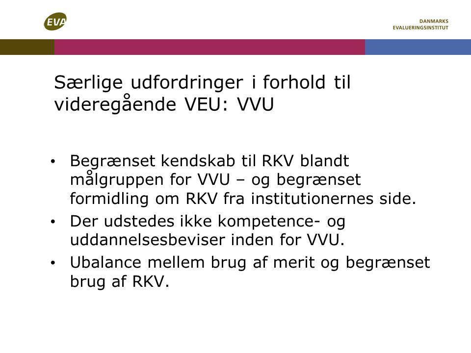 Særlige udfordringer i forhold til videregående VEU: VVU