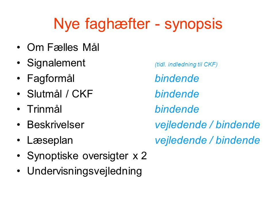 Nye faghæfter - synopsis