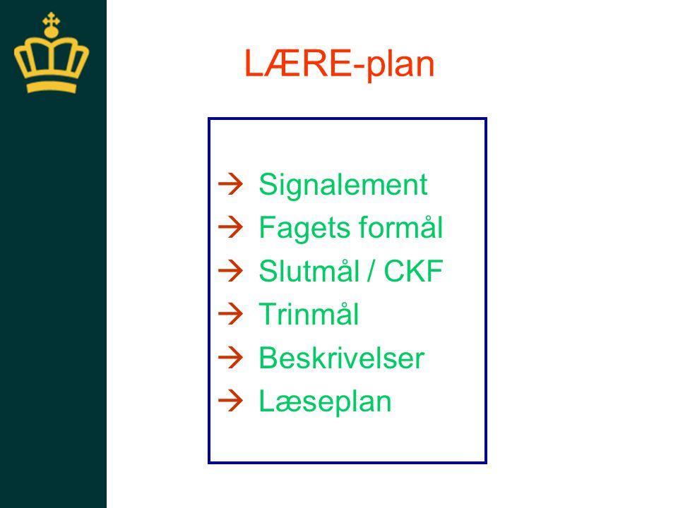 LÆRE-plan Signalement Fagets formål Slutmål / CKF Trinmål Beskrivelser
