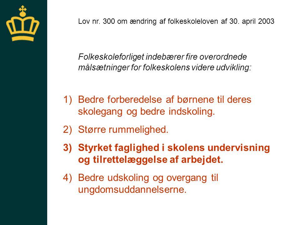 Ny lov Lov nr. 300 om ændring af folkeskoleloven af 30. april 2003.