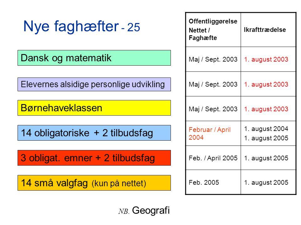 Nye faghæfter - 25 Dansk og matematik Børnehaveklassen