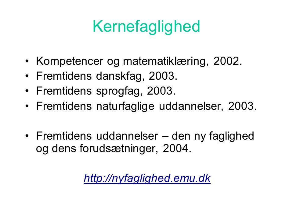 Kernefaglighed Kompetencer og matematiklæring, 2002.