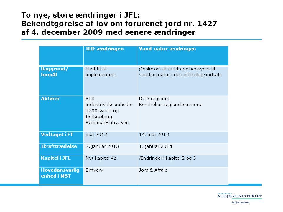 To nye, store ændringer i JFL: Bekendtgørelse af lov om forurenet jord nr. 1427 af 4. december 2009 med senere ændringer